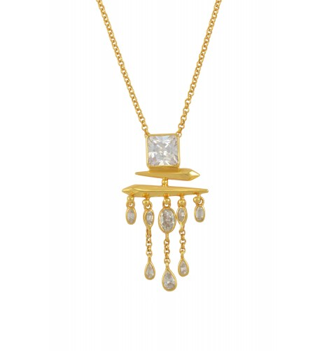 Silver Gold Plated Cubic Zirconia Square Drop Pendant Necklace