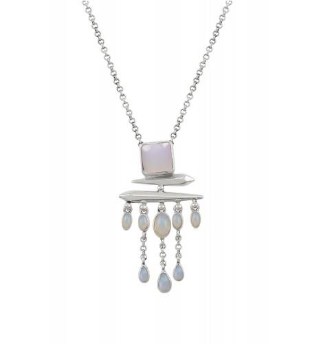 Silver Opal Square Drop Pendant Necklace