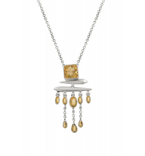 Silver Citrine Square Drop Pendant Necklace