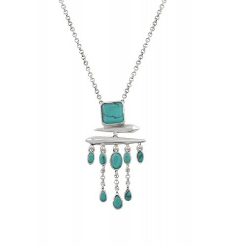 Silver Turquoise Square Drop Pendant Necklace