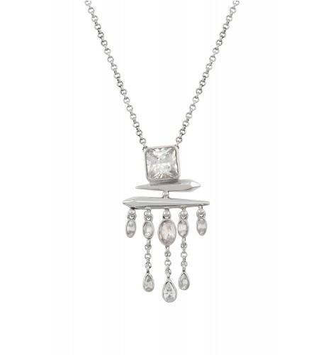 Silver Cubic Zirconia Square Drop Pendant Necklace