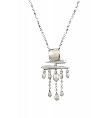 Silver Pearl Square Drop Pendant Necklace