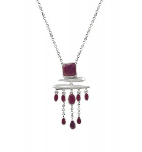 Silver Ruby Square Drop Pendant Necklace