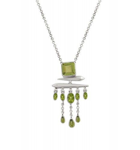 Silver Peridot Square Drop Pendant Necklace