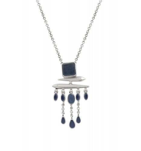 Silver Sapphire Square Drop Pendant Necklace