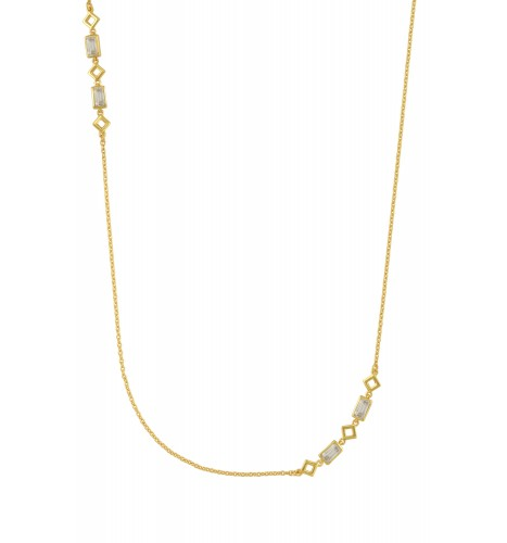 Silver Gold Plated Cubic Zirconia Chain Necklace