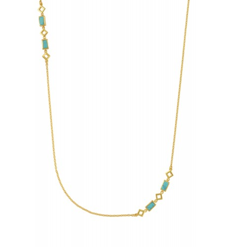 Silver Gold Plated Turquoise Chain Necklace
