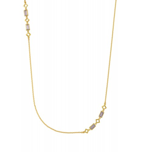 Silver Gold Plated Amethyst Chain Necklace