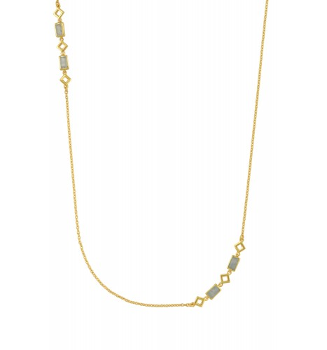 Silver Gold Plated Aquamarine Chain Necklace