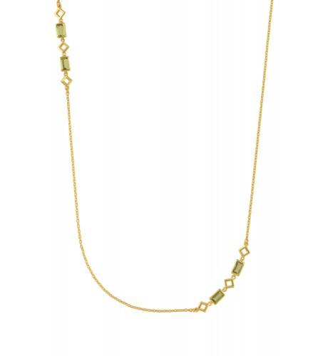 Silver Gold Plated Peridot Chain Necklace