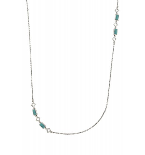 Silver Turquoise Chain Necklace