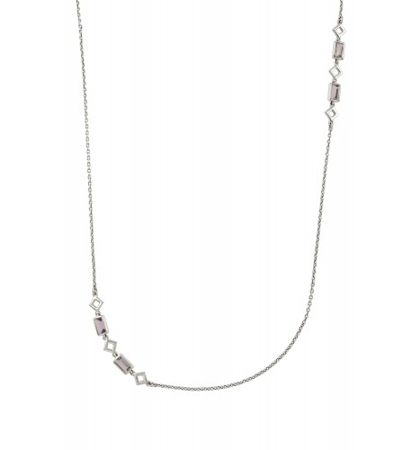 Silver Amethyst Chain Necklace