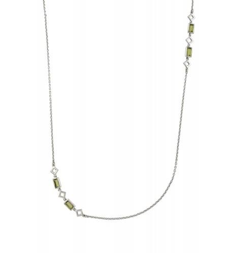 Silver Peridot Chain Necklace