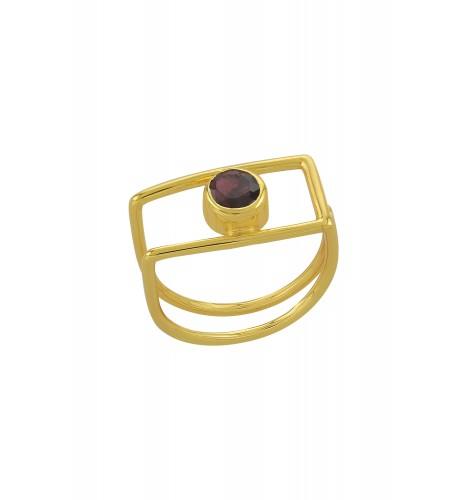 Silver Gold Plated Geo Garnet Ring
