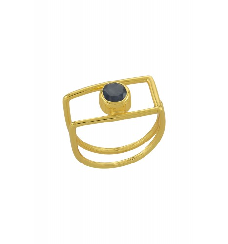 Silver Gold Plated Geo Sapphire Ring