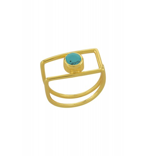 Silver Gold Plated Geo Turquoise Ring