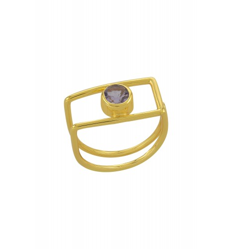Silver Gold Plated Geo Amethyst Ring