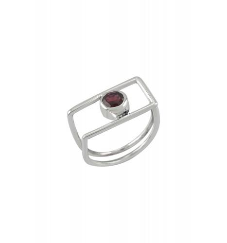 Silver Geo Garnet Ring
