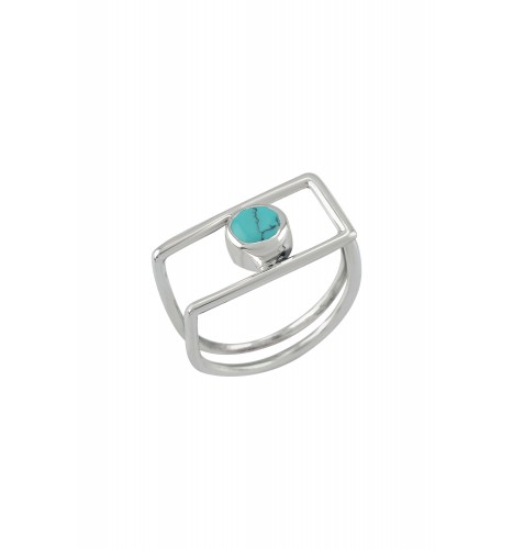 Silver Geo Turquoise Ring