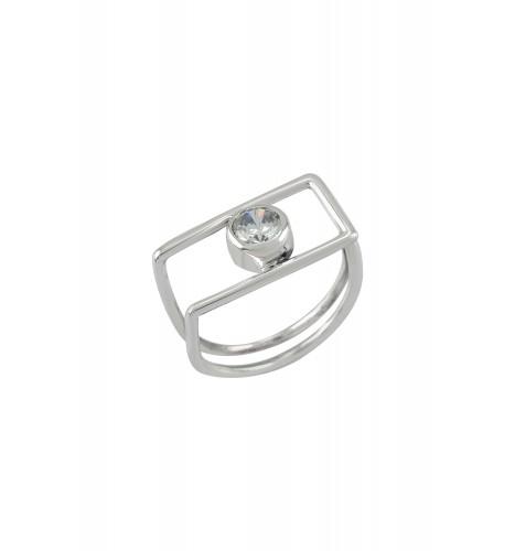 Silver Geo Cubic Zirconia Ring