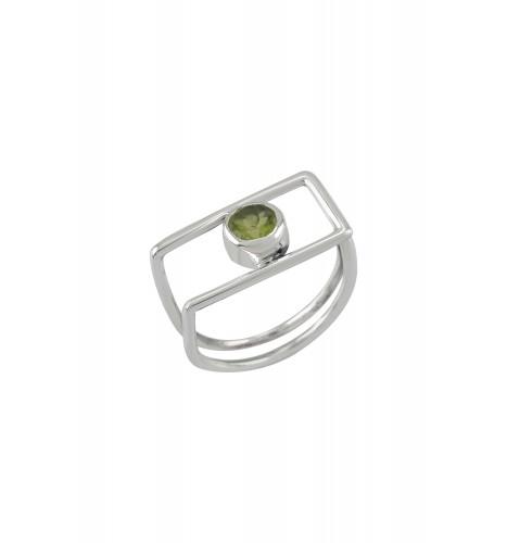 Silver Geo Peridot Ring