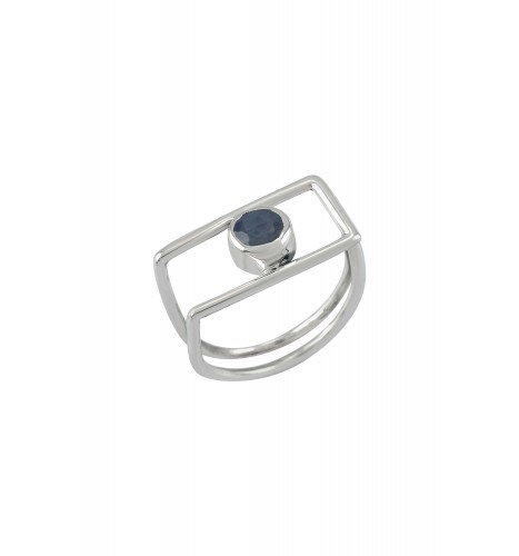 Silver Geo Sapphire Ring