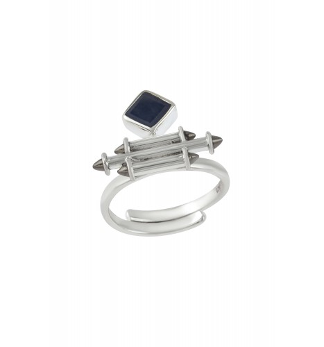 Silver Sapphire Rhombus Taveez Ring
