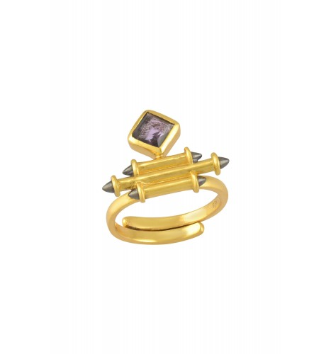 Silver Gold Plated Amethyst Rhombus Taveez Ring