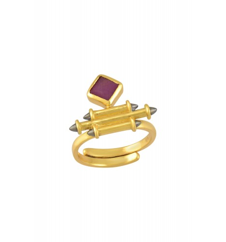 Silver Gold Plated Ruby Rhombus Taveez Ring