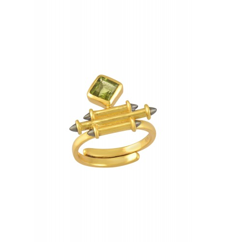 Silver Gold Plated Peridot Rhombus Taveez Ring
