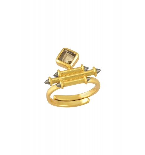 Silver Gold Plated Citrine Rhombus Taveez Ring