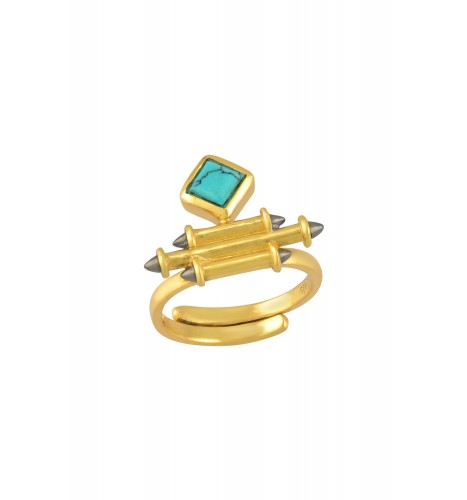 Silver Gold Plated Turquoise Rhombus Taveez Ring