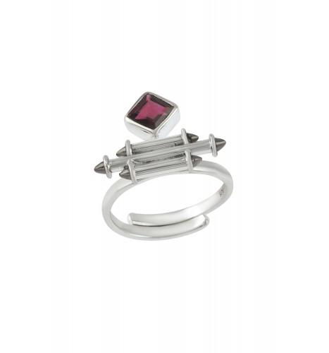 Silver Garnet Rhombus Taveez Ring