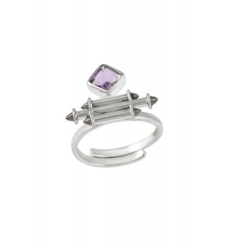 Silver Amethyst Rhombus Taveez Ring