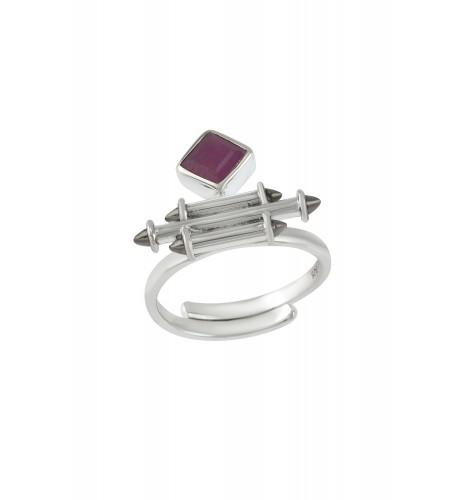Silver Ruby Rhombus Taveez Ring
