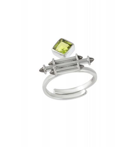 Silver Peridot Rhombus Taveez Ring