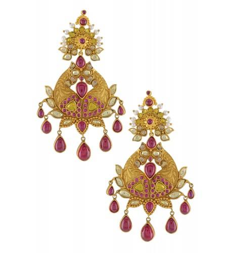 Silver Gold Plated Matsya Lotus Earrings