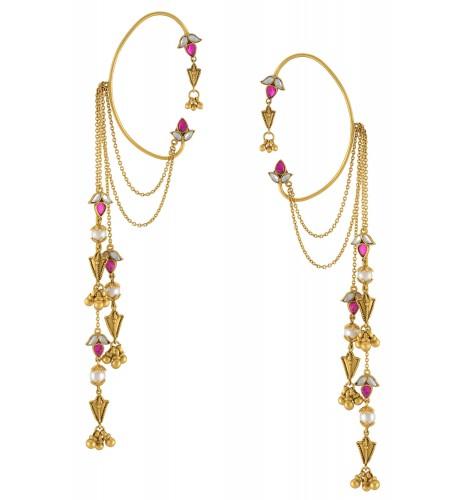 Silver Gold Plated Pink White Lotus Tassel Ball Drop Ear Cuffs