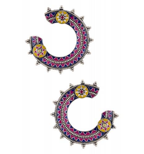 Color Pop Geometric Enameled Circle Earrings