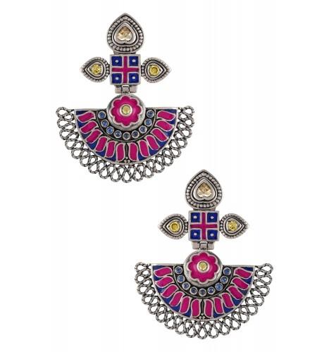 Silver Enameled Floral Earrings
