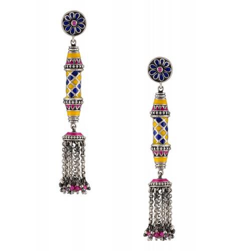 Color Pop Floral Pillar Tassel Earrings