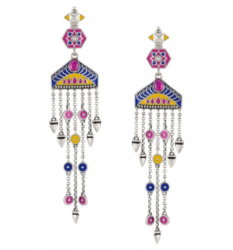 Color Pop Enameled Gradual Tassel Earrings