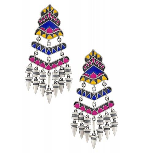 Color Pop Enameled Conical Drop Dangle Earrings