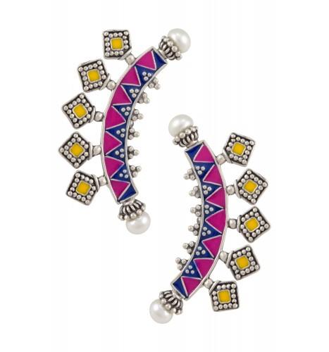 Color Pop Geometric Pearl Enameled Ear cuffs