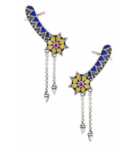Color Pop Geometric Flower Enameled Earcuffs