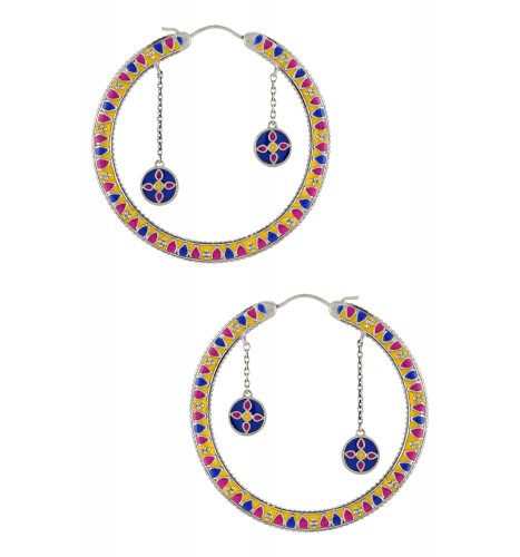Color Pop Enameled Double Drop Hoop