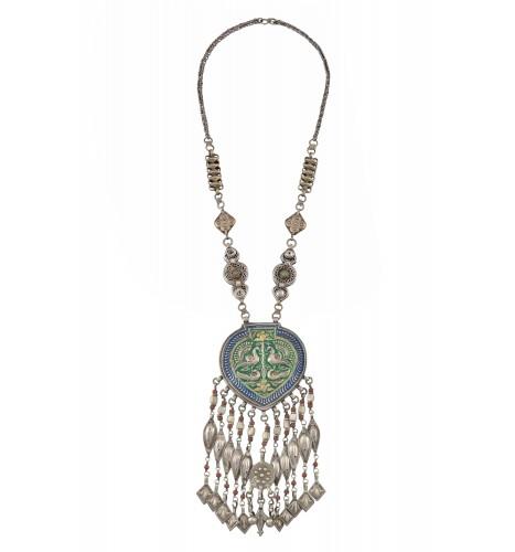 Silver Enameled Peacock Multi Tassel Necklace