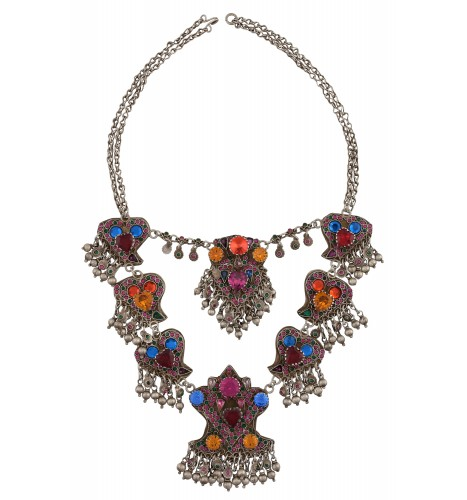 Colorful Crystal Charm Drop Chain Necklace