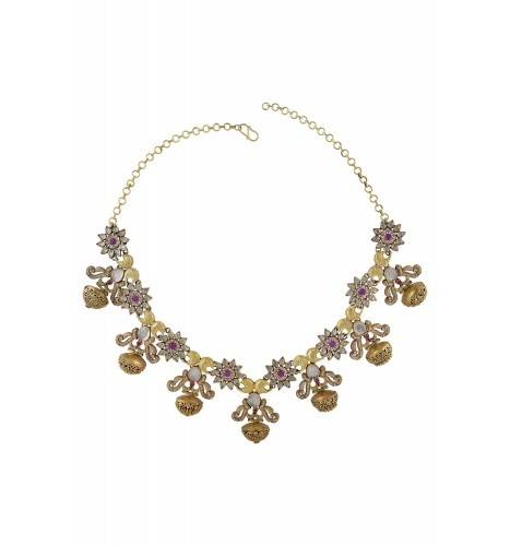 Silver Crystal Sun Flower Filigree Dome Necklace