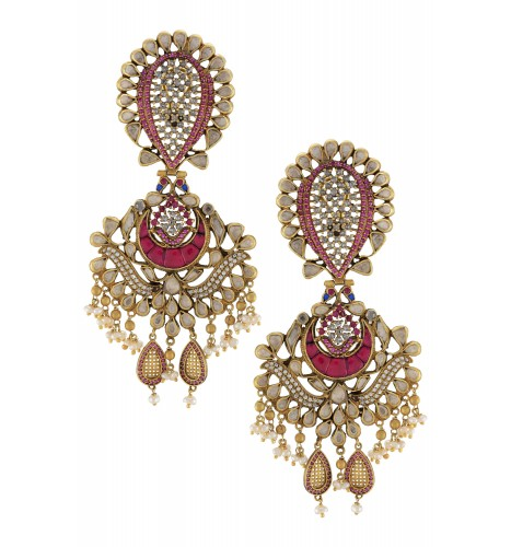 Silver Pink White Jaali Floral Pearl Hanging Earrings